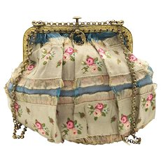 Antique Georgian Period French Silk Purse with Fine Gilded Frame