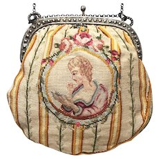 Exquisite 19th Century Petit Point Purse with Micro Petit Point Medallion Scenes