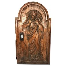 Antique 19th Century French Religious Hand Carved Wooden Tabernacle Door