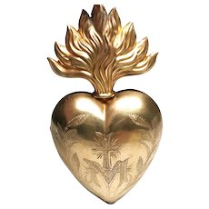 Large Antique 19th Century French Gilded Brass Sacred Heart Ex Voto
