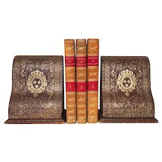 PAIR of Large Gilt Tooled Leather Wooden Book Ends