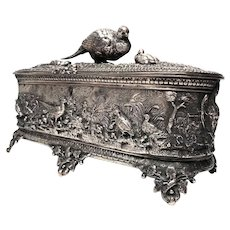 Exquisite 19th Century French Silverplate Animalier Dresser Box
