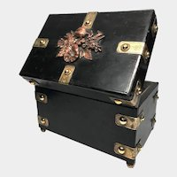Large Antique French Black Lacquer Box with Copper and BrassOrmolu