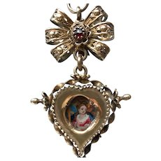 Antique Eighteenth Century Swiss Double Face Religious Pendant or Pendentif