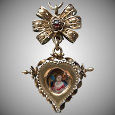 Antique Eighteenth Century Swiss Double Face Religious Pendant or Pendentif