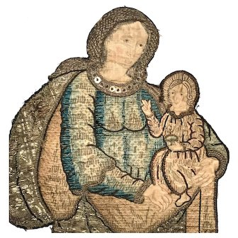 RARE LARGE Eighteenth Century French Silk and Metal Embroidery Figural Panel Representing the Madonna and Christ Child