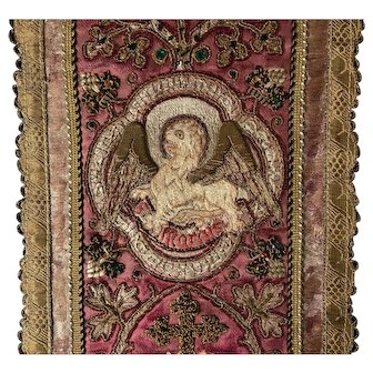 Magnificent Antique Very Early Eighteenth Century Italian Ecclesiastic Vestment Panel Four Evangelists