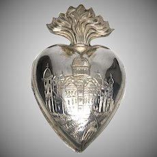 RARE Antique Nineteenth Century French Silver Sacred Heart Ex Voto Engraved Temple