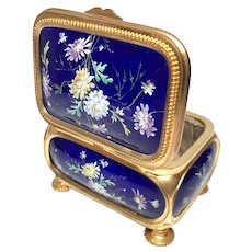 Antique Nineteenth Century Kiln Fired Enamel Gilded Bronze Casket Box