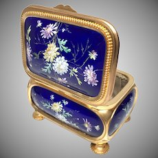 Antique Nineteenth Century Kiln Fired Enamel Gilded Bronze Casket Box
