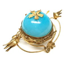 Antique 19th Century French Blue Opaline Gilded Brass Trinket Casket