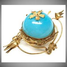 Antique 19th Century French Blue Opaline Gilded Brass Trinket Casket