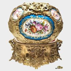 Magnificent Napoleon III Gilded Bronze Coffre with Hand Painted Enamel Plaques