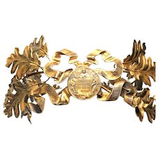 Antique 19th Century Gilded Bronze and Brass French Laurel and Oak Leaf Crown