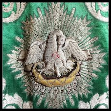 Antique 19th Century Silk Damask Religious Chasuble