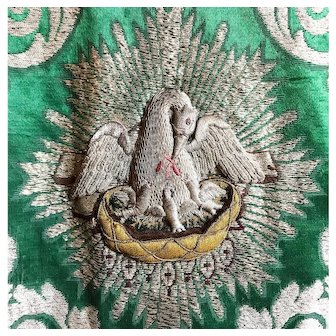 Antique 19th Century Silk Damask Religious Chasuble