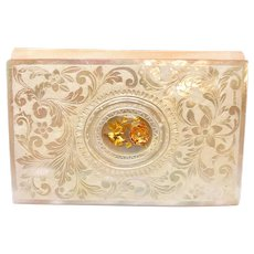 RARE Mother of Pearl Carnet de Bal with Gilded Eglomise Flower