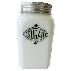 Hazel Atlas White Glass Range Sugar Shaker Green Shield  Decoration