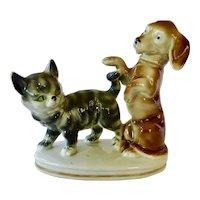 Erphila Germany Dachshund And Tabby Cat Figurine Figural