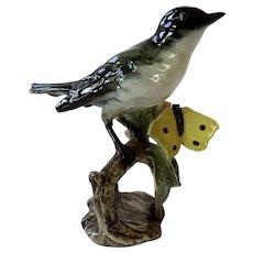 Goebel Porcelain Orphan Warbler Bird Figurine With Butterfly W Germany 1966