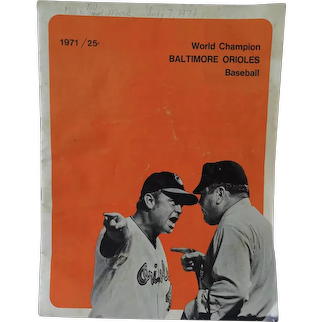 1971 Baltimore Orioles Program World Champion Orioles Vs Cleveland Indians