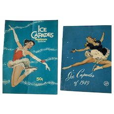 Vintage Pair Ice Capades 1950 & 1958 Programs Features Snow White And The Seven Dwarfs