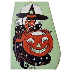 T Cohen 1940s Halloween Tin Ratchet Art Deco Noise Maker Witch Pumpkin