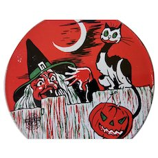 Halloween Ratchet Noise Maker With Witch Cat Pumpkin By US Metal Toy