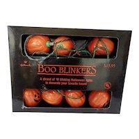 Halloween Boo Blinker Blow Mold Pumpkin Lights By Hallmark 1989