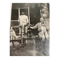 RPPC Real Photo Of Men And Their 3 Dogs Postcard