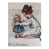A Joyful Christmas Postcard Girl Holding Doll Besides The Tree