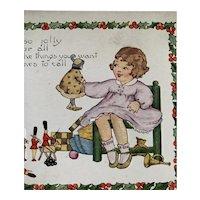 Girl And Boy Playing With Toys Christmas Postcard
