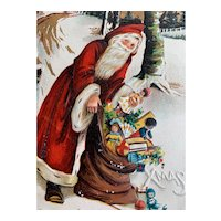 Santa Incised Postcard Bag Of Toys Title BestWishes Made In Saxony