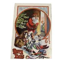 Merry Xmas Postcard Santa Peeking Behind Door