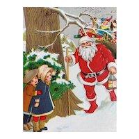 Santa Incised Postcard Girls Hiding And Waiting Behind Tree