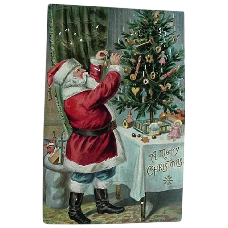 p sanders santa decorating christmas tree postcard wearing blue pants red tag sale item - Decorated Christmas Trees For Sale