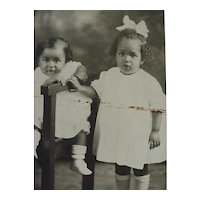 Black Americana Rppc Postcard Two Sweet Children Kids Posing One Sitting One Standing