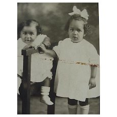 Black Americana Rppc Postcard Two Sweet Children Kids Posing One Sitting One Standing
