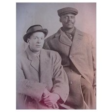 Black Americana Rppc Real Postcard Two Men In Top Coats Schreick's Cute Studio In Ohio