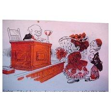 Black Americana Comic Postcard Man And Woman Standing Before Judge