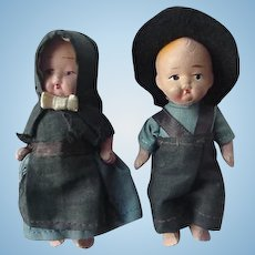 Girl And Boy Bisque Amish Doll Hand Painted Face Jointed