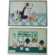 Dutch Netherlands Black Indian Chinese Children St Nicholas Postcard Lot Of 2 Cards By Jeanne Hebbelynck
