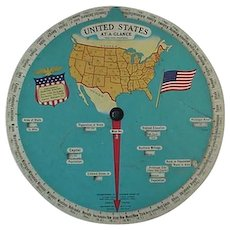 Circular Slide Rule At A Glance Wheel United States Map 1930s - Red Tag Sale Item