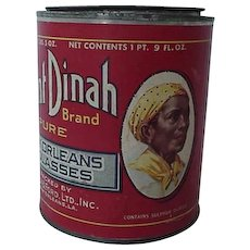 Black Americana Advertising Aunt Dinah New Orleans Molasses Tin With Paper Label 1940s