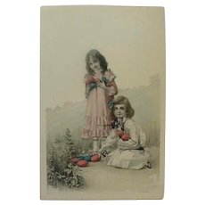 Vintage Postcard With Two Edwardian Girls Holding Lovey Dyed Eggs