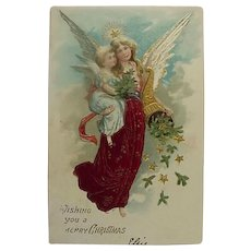 Vintage Incised Christmas Postcard Angel Titled Wishing You A Merry Christmas