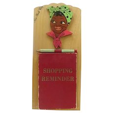 Black Americana Wood Plaque Shopping Reminder With Mammy Souvenir Of New York City 1940s