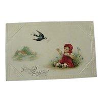 German Postcard Fröhliche Pfingsten Happy Pentecostal Toddler Reaching For Letter
