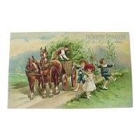 Germany Embossed Postcard Fröhliche Pfingsten Happy Pentecost Children Horse Wooden Wagon 1911