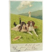 Germany Embossed Postcard Fröhliche Pfingsten Happy Pentecost Girl Laying In Grass With Her Dog